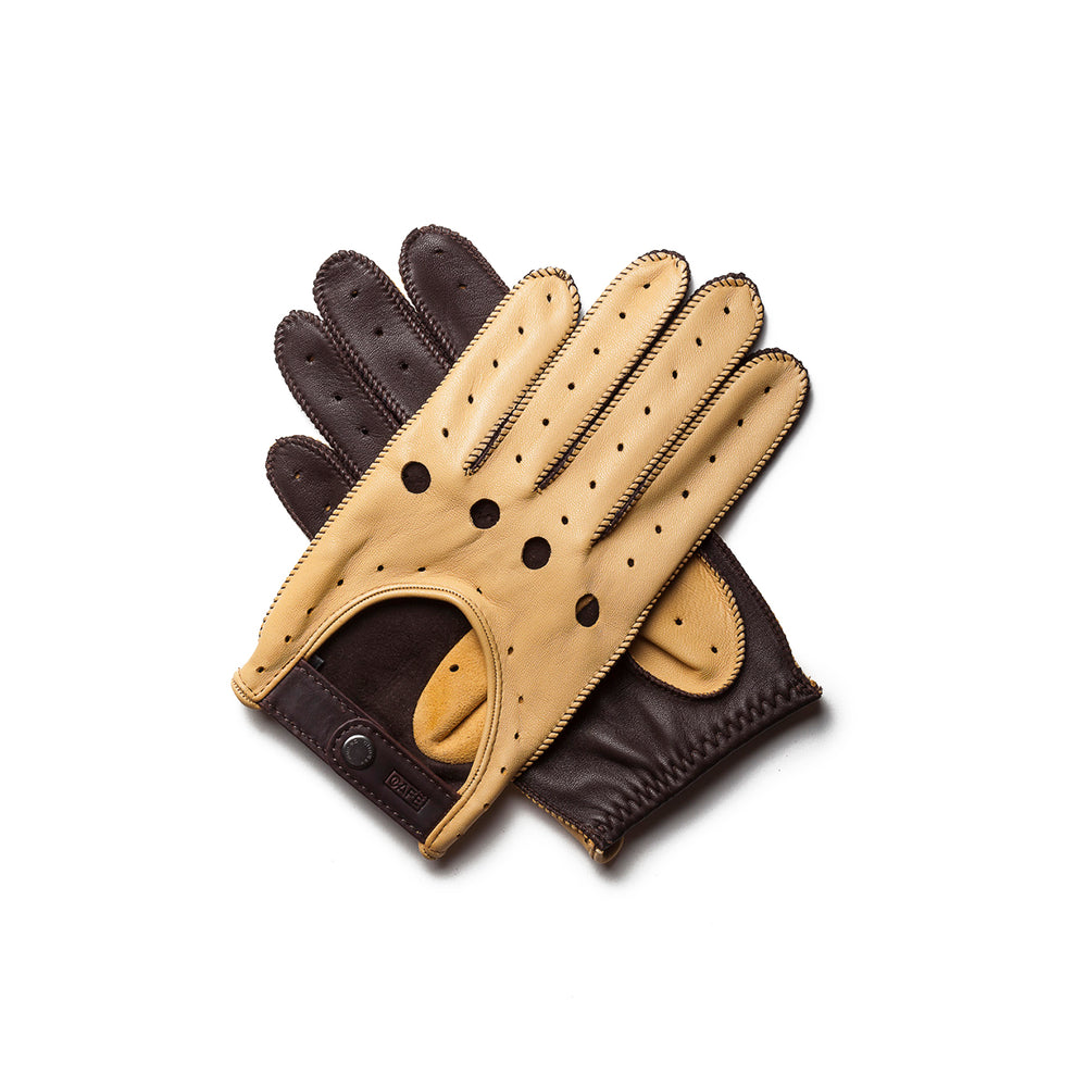 Guantes de conducir crema y marrón Cafe Leather Triton Cream Black Coffee