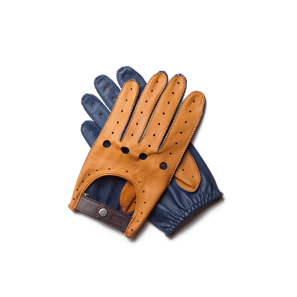 Guantes de conducir marrones y azules Cafe Leather Triton Roasted Marlin