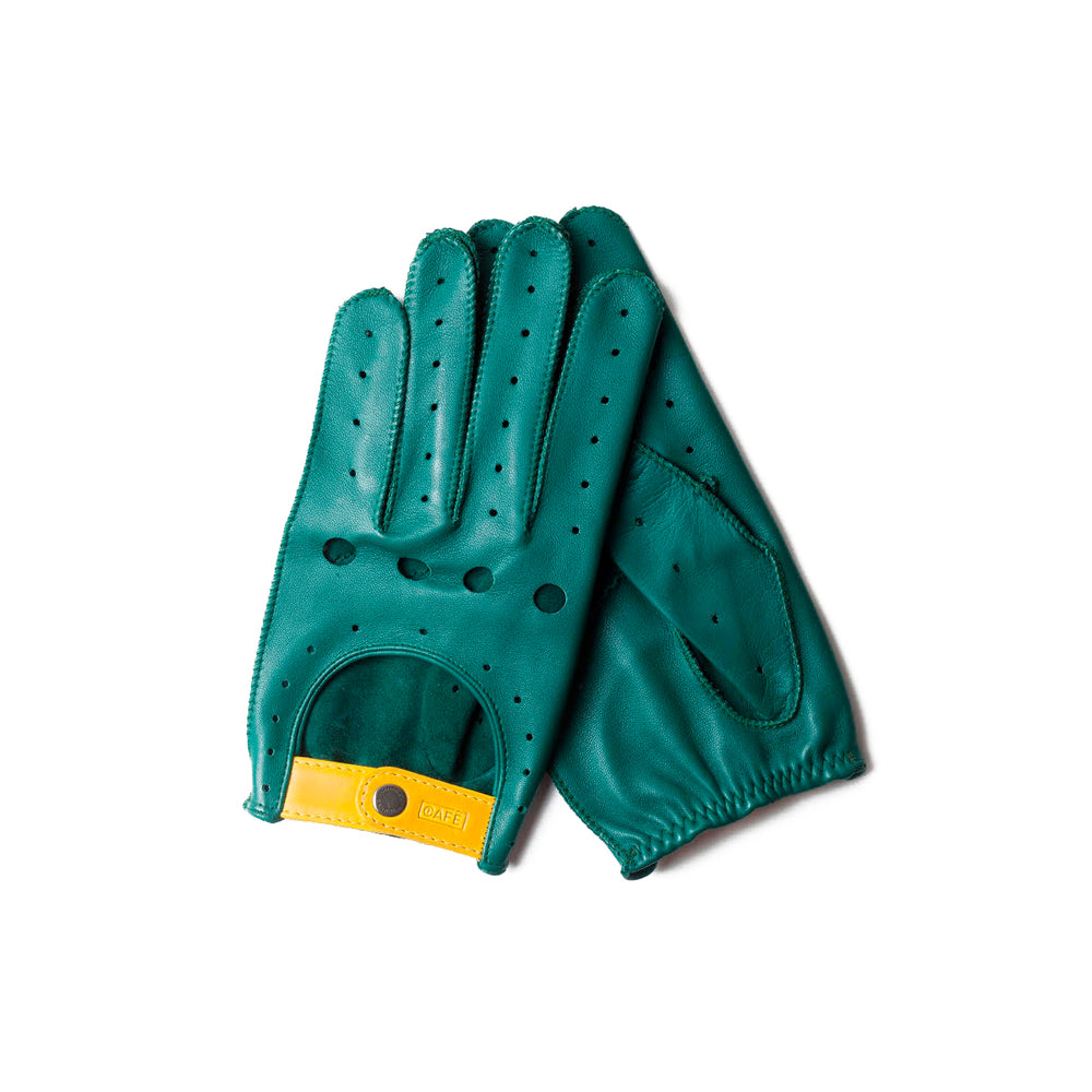 Guantes de conducir verdes Cafe Leather Triton Islas Cies