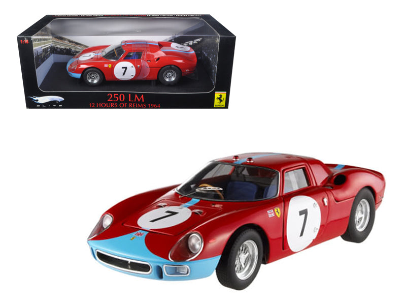 Ferrari 250 LM 12 Hours of Reims 1964 #7 Elite Edition 1/18 Diecast Car Model by Hotwheels
