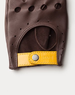 Guantes de conducir marrones Cafe Leather Triton Black Coffee