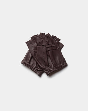 Mitones de conducir marrones Cafe Leather Black Coffee
