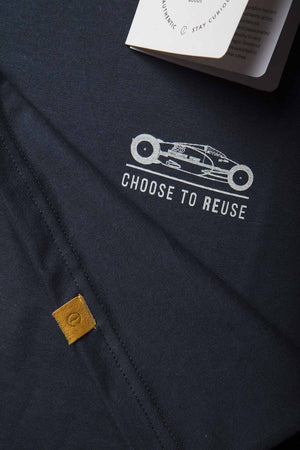 "Camiseta ""Choose to reuse"" Cafe Leather x Manu Campa Navy"