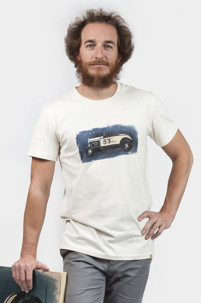 "Camiseta ""Hot Rod"" Cafe Leather x Manu Campa Ecru"