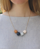 SHORT GEOMETRIC WOOD NECKLACE VA414 - Sylvie and Shimmy