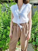V NECK SLEEVELESS LINEN BLOUSE 1081 - Sylvie and Shimmy