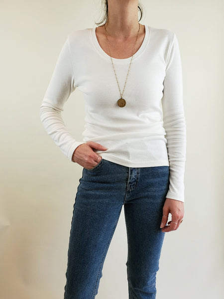 SCOOP NECK LONG SLEEVE T SHIRT 3539 - Sylvie and Shimmy