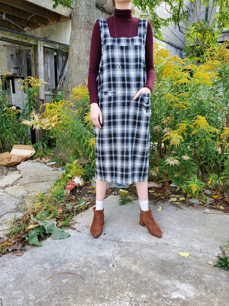 PLAID OVERALL DRESS 3014 - Sylvie and Shimmy