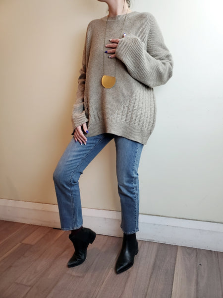 BOXY SIDE CABLE SWEATER 3042 - Sylvie and Shimmy