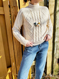 MOCK NECK CABLE SWEATER 3048 - Sylvie and Shimmy