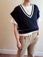 V NECK CABLE SWEATER VEST 3309 - Sylvie and Shimmy