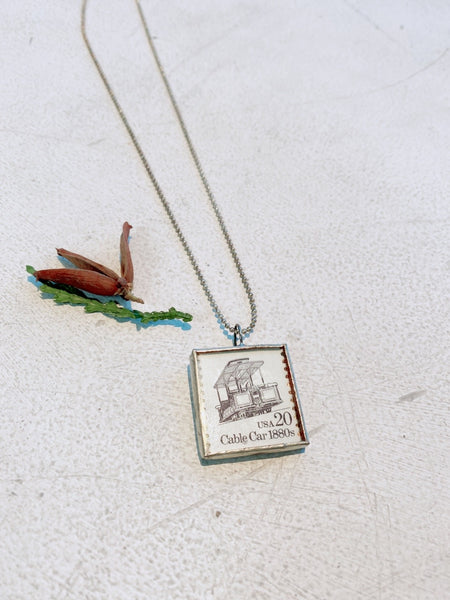 LEADED GLASS VINTAGE STAMP CHARM NECKLACE TB465 - Sylvie and Shimmy
