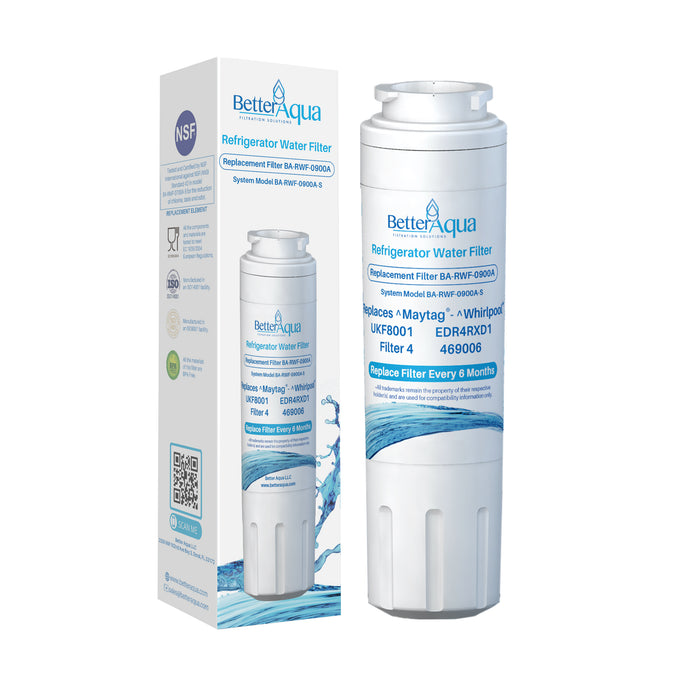 BetterAqua NSF UKF8001 Refrigerator Water Filter Replacement for EveryDrop EDR4RXD1, Whirlpool Filter 4, Maytag UKF8001AXX-200, UKF8001P, 4396395, 469006, FMM-2, WF295, RFC0900A