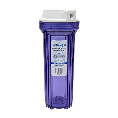 "BetterAqua Filter Housing 10"" X 2.5"" Connection Port 1/4"" FNPT Clear Color, BA-FH1025-CLR14"