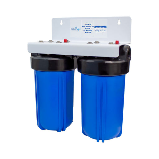 "BetterAqua Filter 2 Stage Standard Whole House Water Filtration System 10"" x 4.5"" (BA-3SFH-2025) Home Filter Housing Kit"