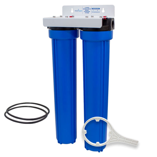 "BetterAqua Filter 2 Stage Whole House Water Filtration System 20"" (BA-2SFH-2025) Home Filter Housing Kit"