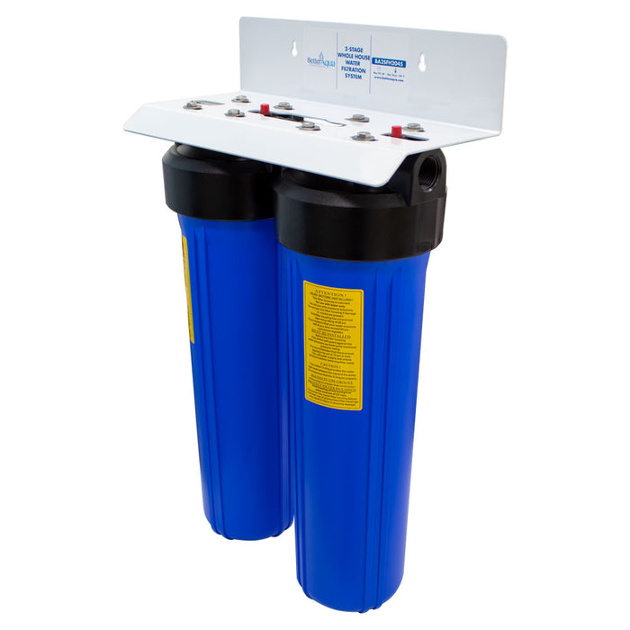 "BetterAqua Filter 2 Stage Big Blue Whole House Water Filtration System 20"" (BA-2SFH-2045) Home Filter Housing, BA-2SBB-K"