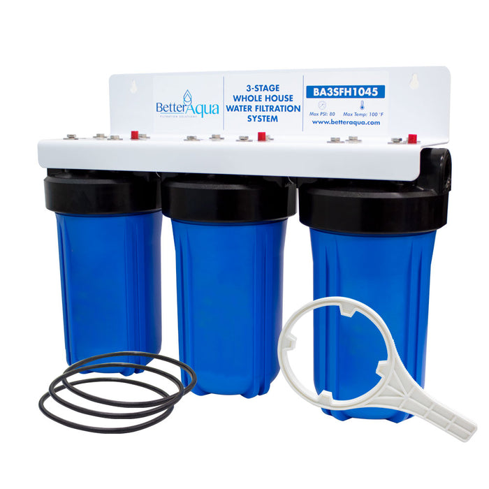 "BetterAqua Filter 3 Stage High Flow Whole House Water Filtration System 20"" (BA-3SFH-1045) Home Filter Housing Kit"