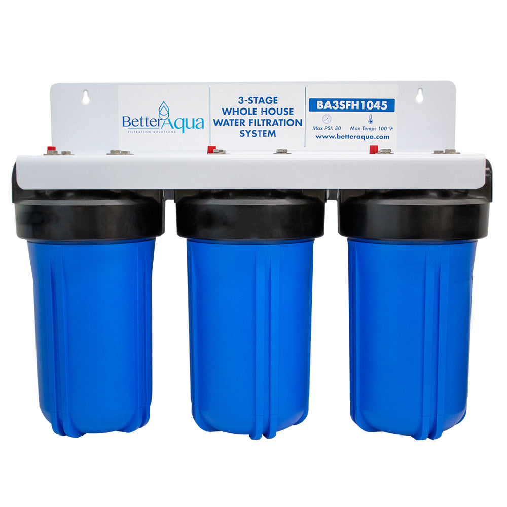 "BetterAqua Filter 3 Stage High Flow Whole House Water Filtration System 20"" Home Filter Housing, BA-3SFH-1045"