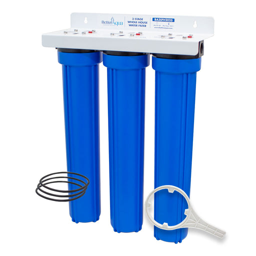 "BetterAqua Filter 3 Stage Standard Whole House Water Filtration System 20"" (BA-3SFH-2025) Home Filter Housing Kit, BA-3SXL-K"