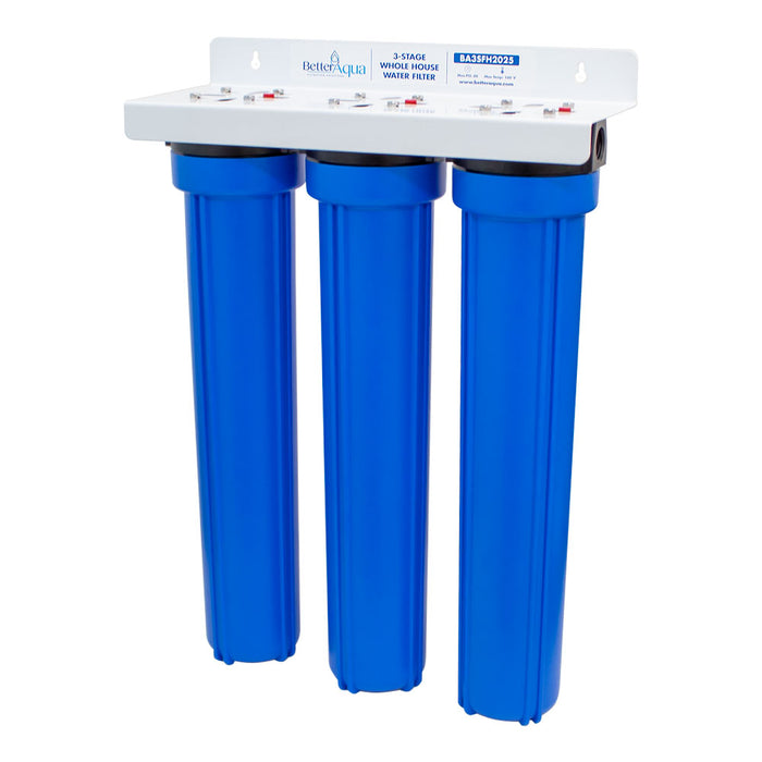 "BetterAqua Filter 3 Stage Standard Whole House Water Filtration System 20"" Home Filter Housing, BA-3SFH-2025"
