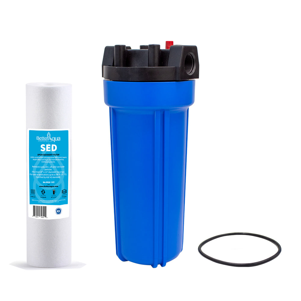 "BetterAqua Filter Housing 10"" X 2.5"" 3/4"" Blue Color With Pressure Cap, Replacement O-Ring and Wrench, BA-FH1025B34-K"