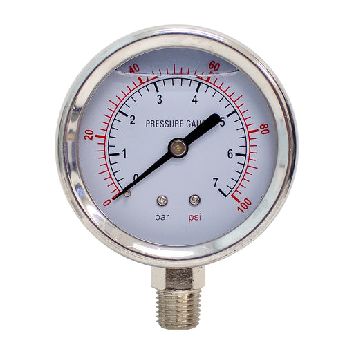 "BetterAqua New Stainless Steel Pressure Gauge 0-100 PSI Liquid Filled WOG Water Oil Gas 1/4"" NPT Male Thread 2.5"" Diameter, BA-PG100-25"