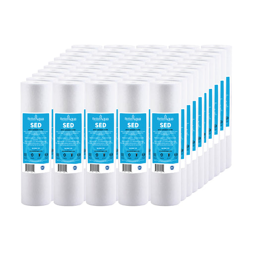 "BetterAqua 50-Pack 5 Micron 10"" x 2.5"" Whole House Sediment Water Filter Replacement, BA-PPSF102-50PK"