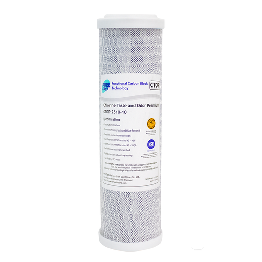 "Pure 10 Micron Coconut Shell Carbon Block 10"" x 2.5"" Filter Cartridge"