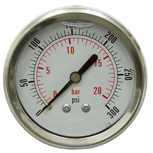 "BetterAqua New Stainless Steel Pressure Gauge 0-300 PSI Liquid Filled WOG Water Oil Gas 1/4"" NPT Male Thread 2.5"" Diameter, BA-PG300-25"