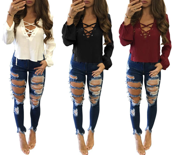 Long Sleeve Loose Casual Blouse