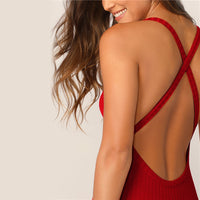 Red Crisscross Backless Knitted Dress