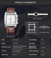 MEGIR Rectangle Quartz Military Watch