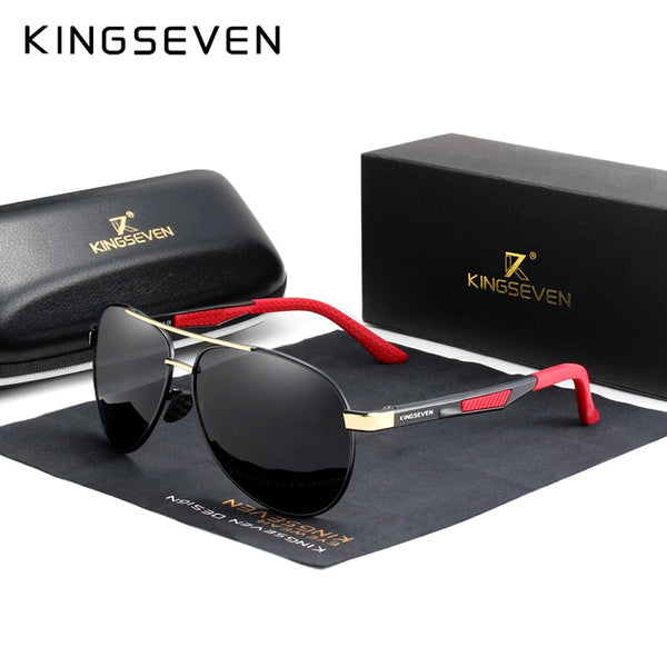KINGSEVEN Brand Men's Vintage Square Sunglasses Polarized UV400
