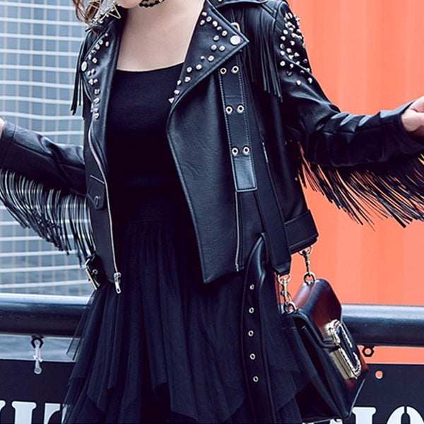 Faux Leather ladies biker jacket