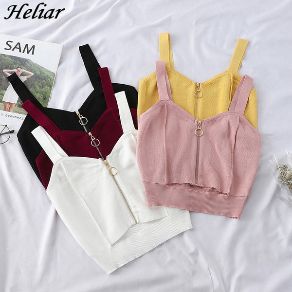 HELIAR 2019 Summer Women Tank Tops Club Sexy Zipper Crop Top Hole Knitting Camisole Ladies Sleeveless Solid Simple Camis