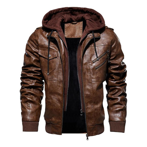 men's faux leather hoodie