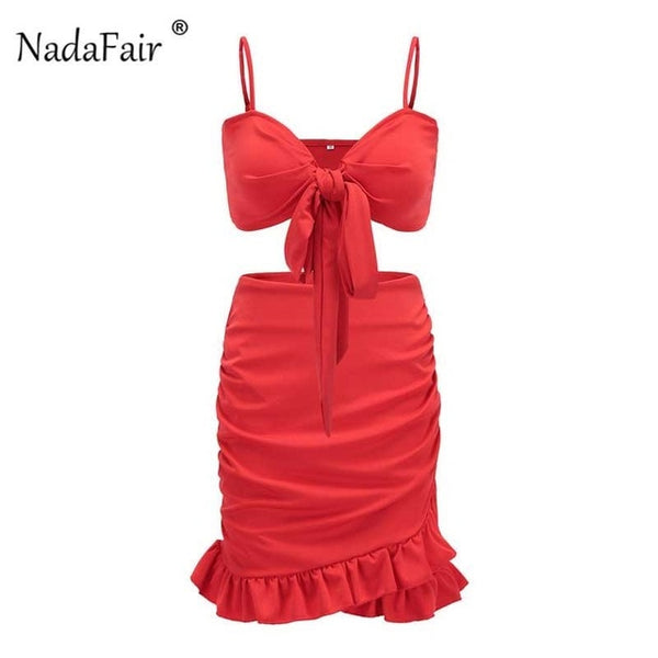Nadafair Two Pieces Set With Ruffles