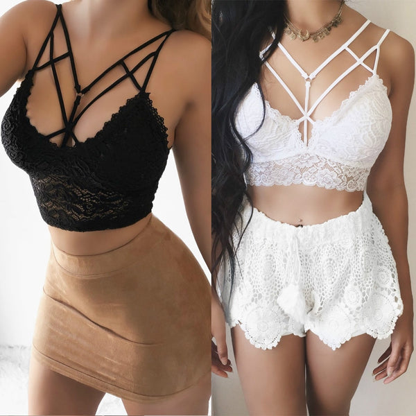 Lace Strap V Neck Crop Top