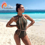Sexy One-Piece Swimsuit Mesh Patchwork