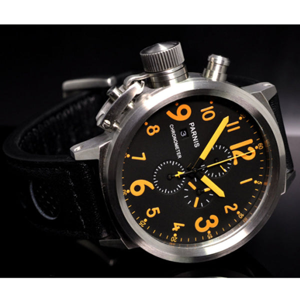 50mm PARNIS Black Dial Chronograph Luxury Stainless steel watch