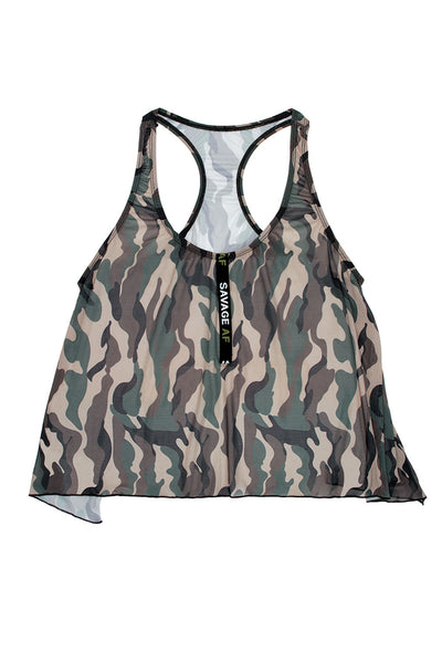 Savage Af Swing Top - Forest Camo -