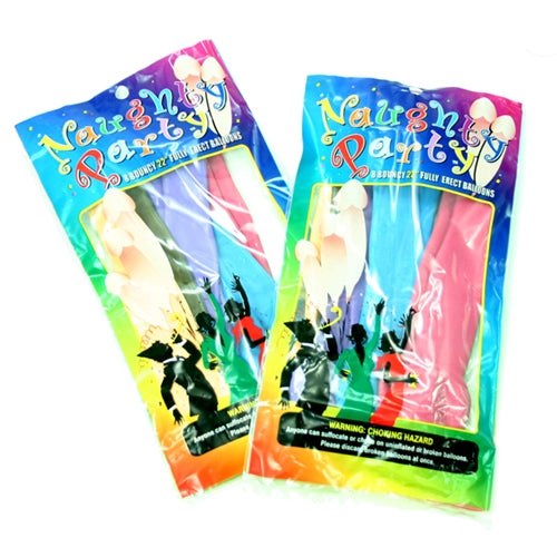 Naughty Party Balloons - Penis - 8 Pack - Assorted Colors
