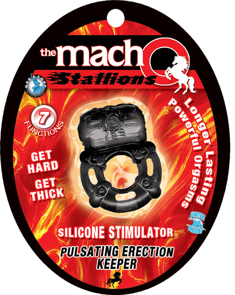 The Macho Stallions Pulsating Erection Keeper - Black