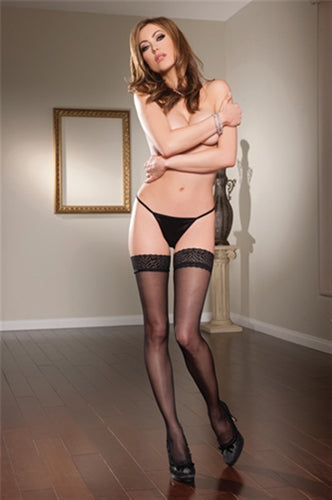 Sheer Lace Thigh High - One Size - Black