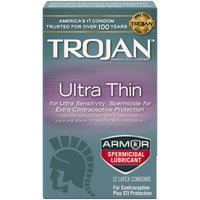 Trojan Sensitivity Ultra Thin Armor Spermicidal Lubricated Condoms 12 Pack