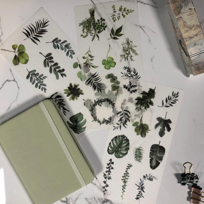 sticker sheets with various green leaves
