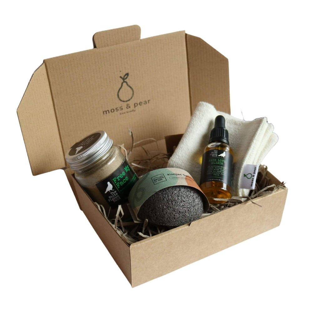 Brown box bundle of zero waste products from moss & pear. Exfoliating face grains,  Konjac sponge, Face Oil Elixir, organic hemp facecloth made in Melbourne