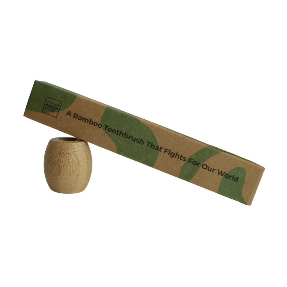 Brush It On sustainable bamboo, eco friendly toothbrush holder and toothbrush