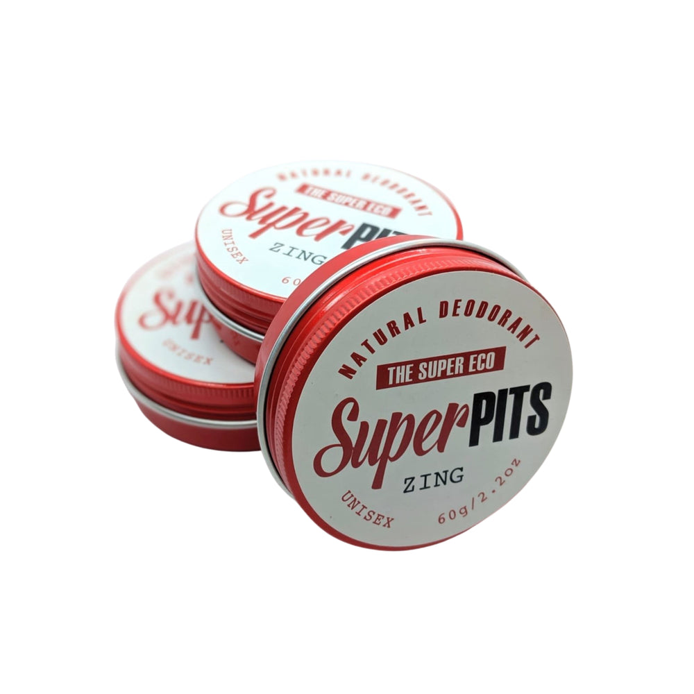 Natural deodorant in a tin. The SuperEco Super Pits ZIng with shea butter, bergamot, lime, vitamin E, lavender. Reusable tin